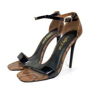 Cathy Jean brown snakeskin patent black heel sz 7
